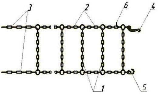Можно сделать вот так: 1 – поперечная ветвь, 2 – продольная ветвь, 3 – хвостовая ветвь, 4 – запорный гак, 5 – запорный крюк, 6 - запорное кольцо.
