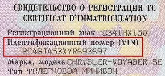 автомобильный вин код